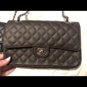 Brownish maroon quilted handbag